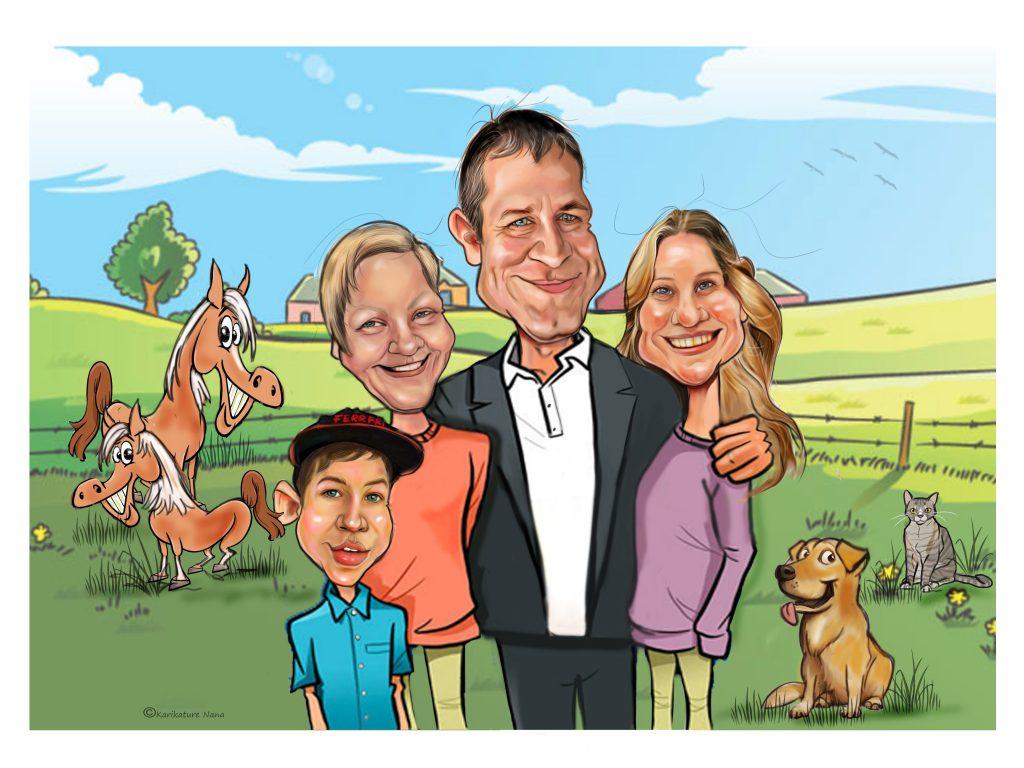 karikatura_družina grojzdek